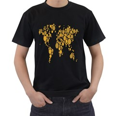 Map Dotted Gold Circle Men s T-Shirt (Black) (Two Sided)