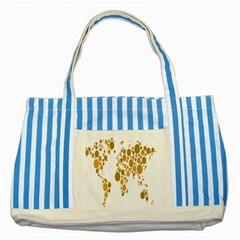 Map Dotted Gold Circle Striped Blue Tote Bag