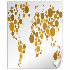 Map Dotted Gold Circle Canvas 16  x 20