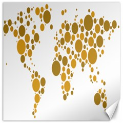 Map Dotted Gold Circle Canvas 20  x 20