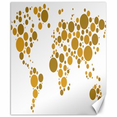 Map Dotted Gold Circle Canvas 20  x 24