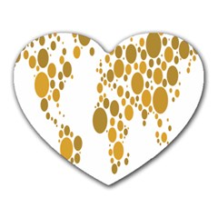 Map Dotted Gold Circle Heart Mousepads