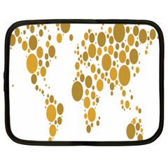 Map Dotted Gold Circle Netbook Case (Large)
