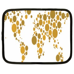 Map Dotted Gold Circle Netbook Case (XXL)