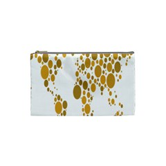 Map Dotted Gold Circle Cosmetic Bag (small)