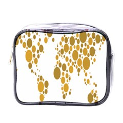 Map Dotted Gold Circle Mini Toiletries Bags
