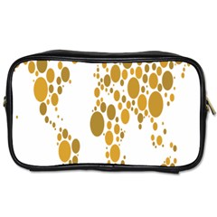 Map Dotted Gold Circle Toiletries Bags