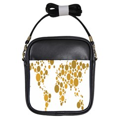 Map Dotted Gold Circle Girls Sling Bags