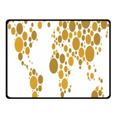 Map Dotted Gold Circle Fleece Blanket (Small)
