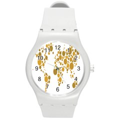 Map Dotted Gold Circle Round Plastic Sport Watch (M)