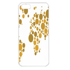 Map Dotted Gold Circle Apple iPhone 5 Seamless Case (White)