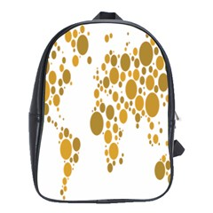 Map Dotted Gold Circle School Bags (XL)
