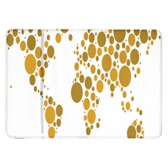 Map Dotted Gold Circle Samsung Galaxy Tab 8.9  P7300 Flip Case