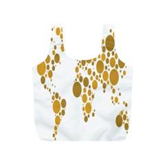 Map Dotted Gold Circle Full Print Recycle Bags (S)