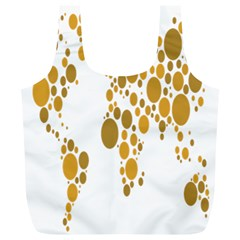 Map Dotted Gold Circle Full Print Recycle Bags (L)