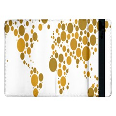 Map Dotted Gold Circle Samsung Galaxy Tab Pro 12.2  Flip Case