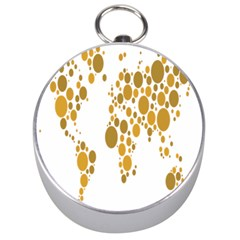 Map Dotted Gold Circle Silver Compasses