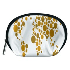 Map Dotted Gold Circle Accessory Pouches (Medium)