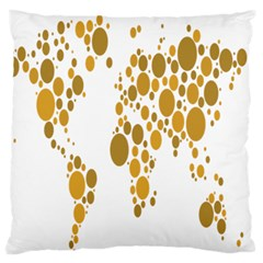 Map Dotted Gold Circle Standard Flano Cushion Case (One Side)
