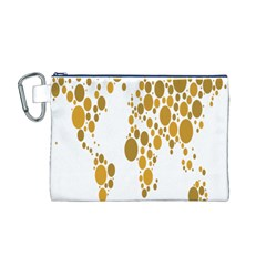 Map Dotted Gold Circle Canvas Cosmetic Bag (M)
