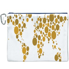 Map Dotted Gold Circle Canvas Cosmetic Bag (XXXL)