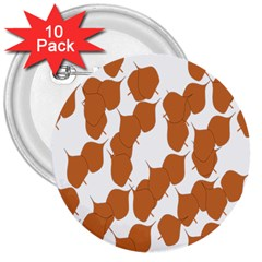 Machovka Autumn Leaves Brown 3  Buttons (10 pack)