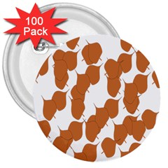 Machovka Autumn Leaves Brown 3  Buttons (100 Pack)