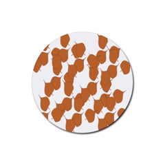 Machovka Autumn Leaves Brown Rubber Coaster (round)
