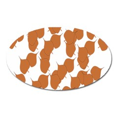 Machovka Autumn Leaves Brown Oval Magnet