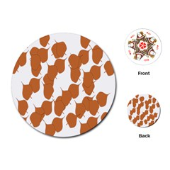 Machovka Autumn Leaves Brown Playing Cards (Round)