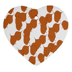 Machovka Autumn Leaves Brown Heart Ornament (Two Sides)