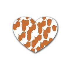 Machovka Autumn Leaves Brown Heart Coaster (4 pack)