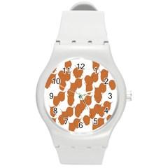 Machovka Autumn Leaves Brown Round Plastic Sport Watch (m)