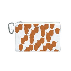 Machovka Autumn Leaves Brown Canvas Cosmetic Bag (S)