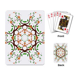 Floral Tree Leaf Flower Star Playing Card