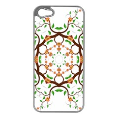 Floral Tree Leaf Flower Star Apple iPhone 5 Case (Silver)