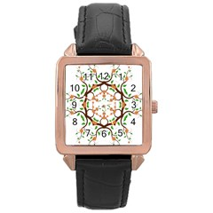 Floral Tree Leaf Flower Star Rose Gold Leather Watch