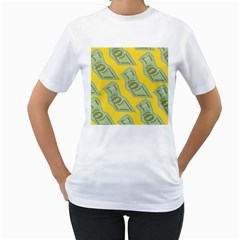 Money Dollar $ Sign Green Yellow Women s T-Shirt (White) (Two Sided)