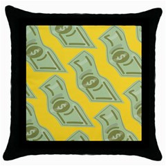 Money Dollar $ Sign Green Yellow Throw Pillow Case (Black)