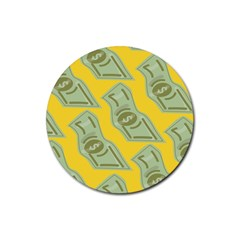 Money Dollar $ Sign Green Yellow Rubber Coaster (Round)