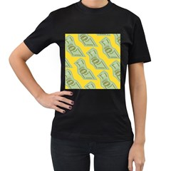 Money Dollar $ Sign Green Yellow Women s T-Shirt (Black) (Two Sided)