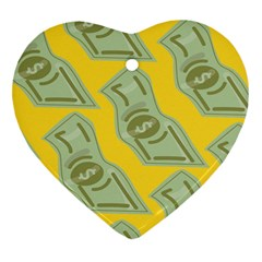 Money Dollar $ Sign Green Yellow Heart Ornament (Two Sides)