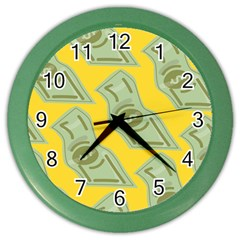 Money Dollar $ Sign Green Yellow Color Wall Clocks