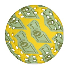 Money Dollar $ Sign Green Yellow Round Filigree Ornament (two Sides)