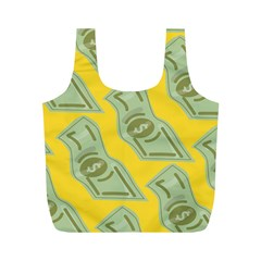 Money Dollar $ Sign Green Yellow Full Print Recycle Bags (M)