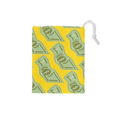 Money Dollar $ Sign Green Yellow Drawstring Pouches (Small)