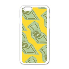 Money Dollar $ Sign Green Yellow Apple iPhone 6/6S White Enamel Case