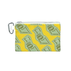 Money Dollar $ Sign Green Yellow Canvas Cosmetic Bag (S)