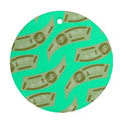 Money Dollar $ Sign Green Ornament (round)