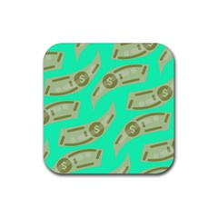 Money Dollar $ Sign Green Rubber Square Coaster (4 Pack)